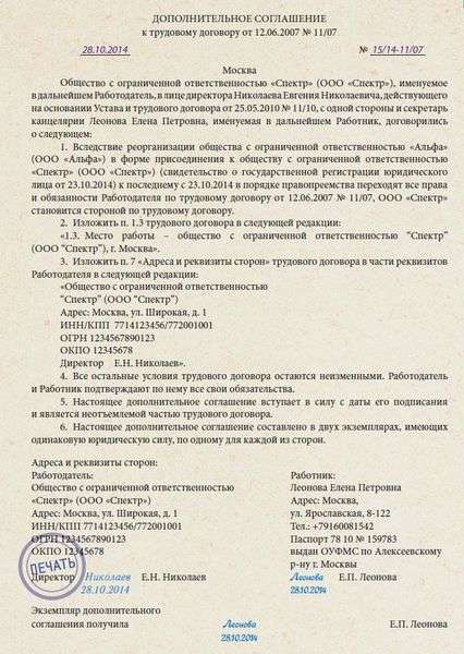 Приложение к договору на электромонтажные работы