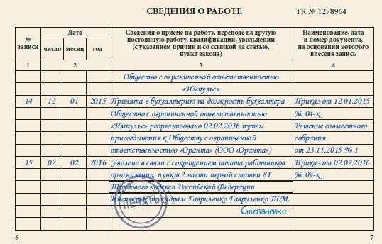 Уволить директора запись в трудовой книжке образец - Zabor-dv.ru