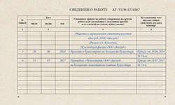 Пример внесения в трудовую книжку записи о переводе из филиала в головной офис организации.