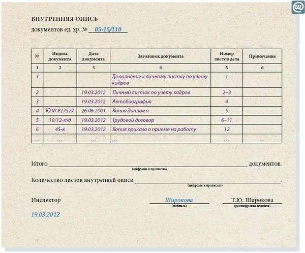 образец описи передаваемых документов на проверку