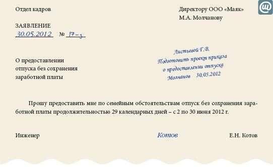 образец приказа об отзыве из отпуска без сохранения заработной платы
