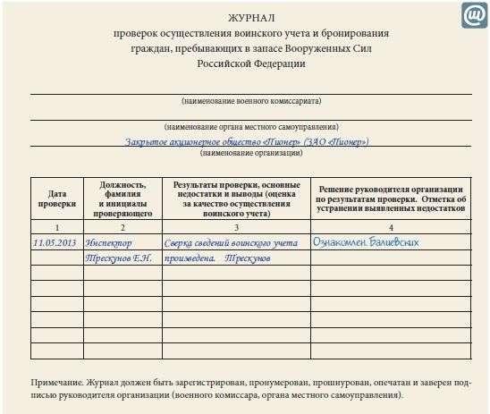 книга учета воинских документов образец - фото 6