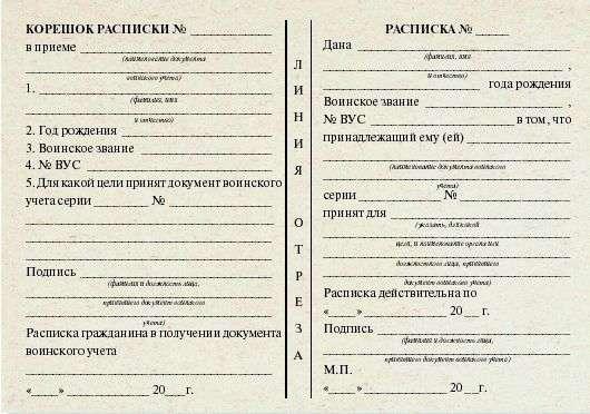 Расписка о приеме военного билета образец