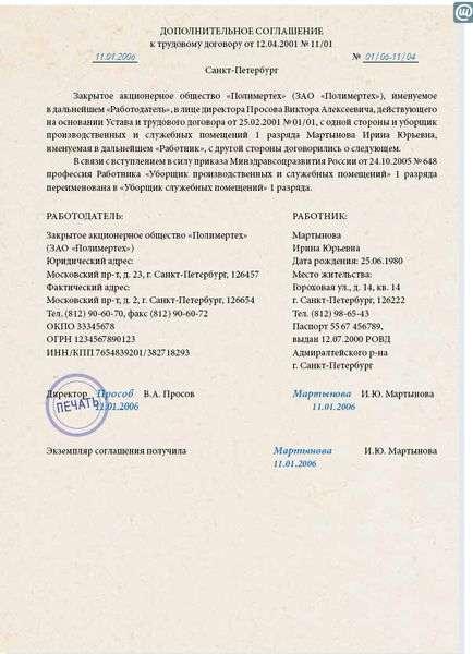 Дополнительное соглашение о смене названия организации