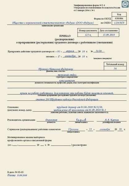 Образец приказа увольнение по ст 288 тк рф