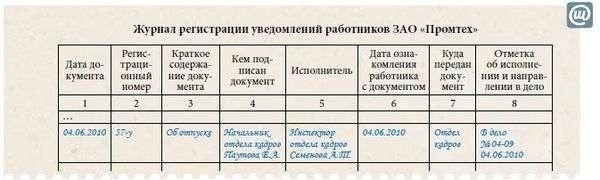 Журнал регистрации уведомлений об отпуске образец