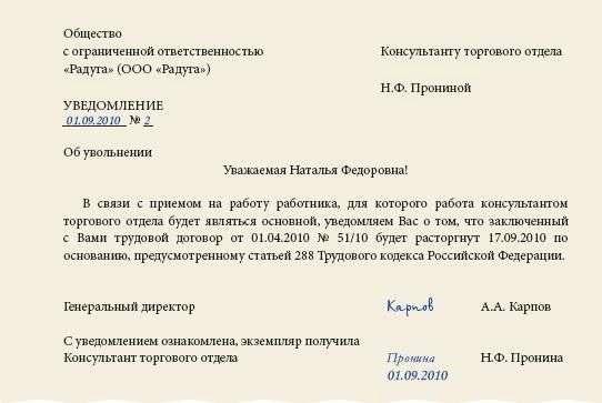 уведомление о прекращении трудового договора с совместителем образец - фото 4