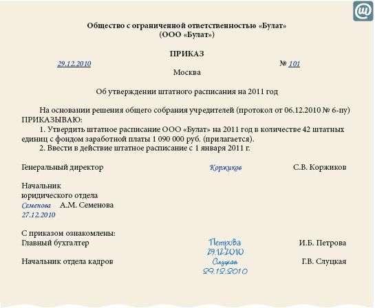 образец приказа об исключении из штатного расписания должности - фото 4