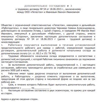 Форма дополнительного соглашения к трудовому договору