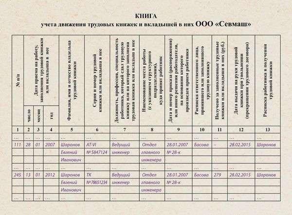 расписка за получение трудовой книжки образец