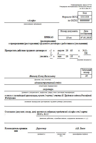 Статья 81 ТК РФ: Расторжение трудового договора по инициативе работодателя